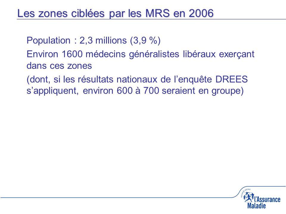 Les zones ciblées par les MRS en 2006