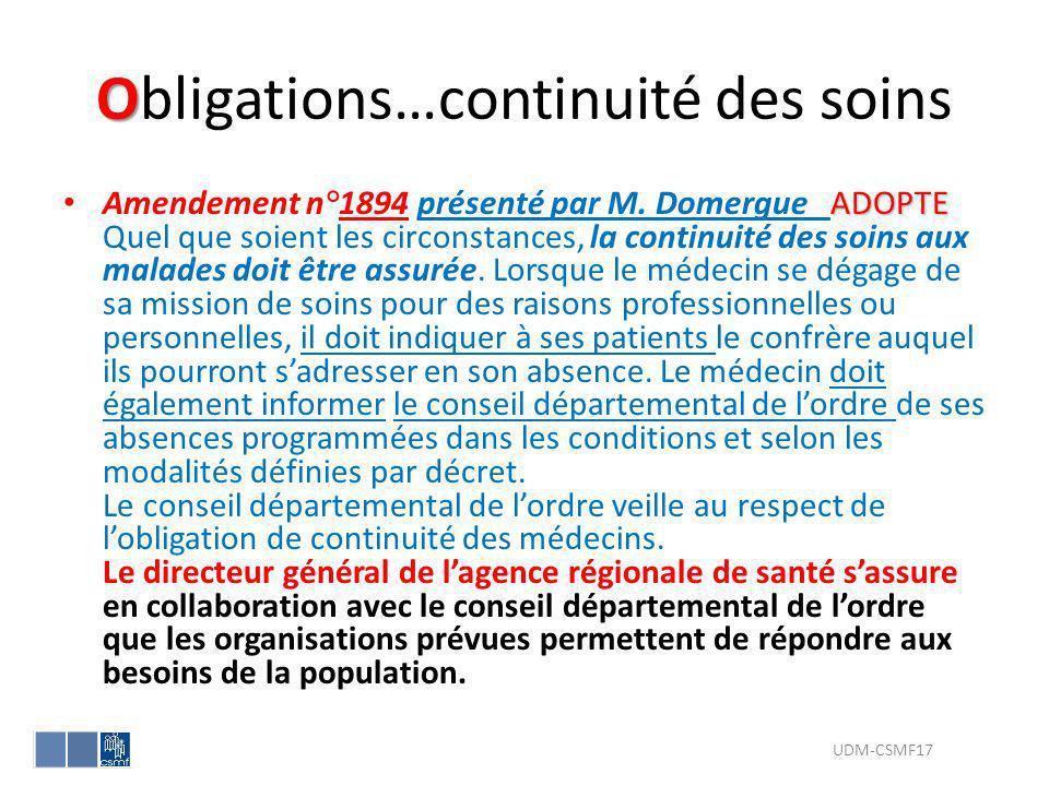 Obligations…continuité des soins