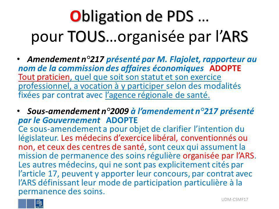 Obligation de PDS … pour TOUS…organisée par l'ARS