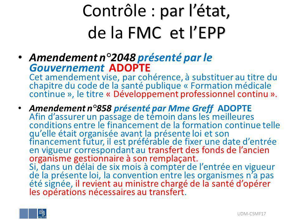 Contrôle : par l'état, de la FMC et l'EPP
