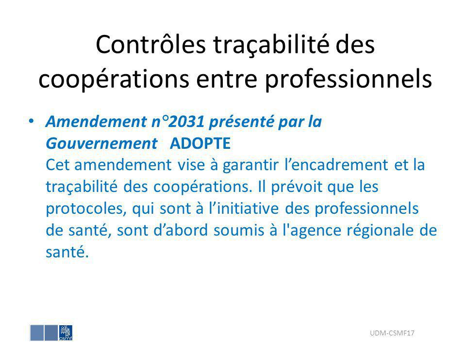 Contrôles traçabilité des coopérations entre professionnels