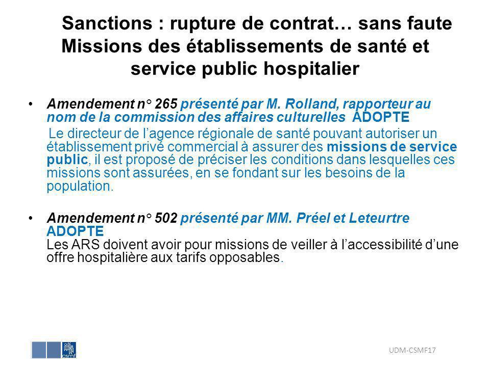Sanctions : rupture de contrat… sans faute Missions des établissements de santé et service public hospitalier