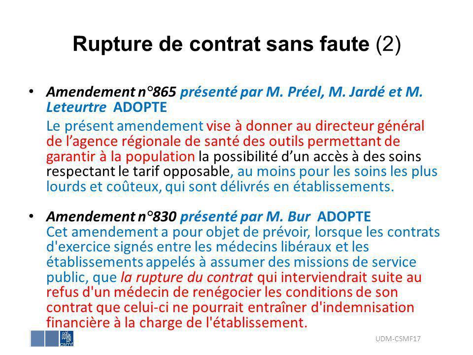 Rupture de contrat sans faute (2)
