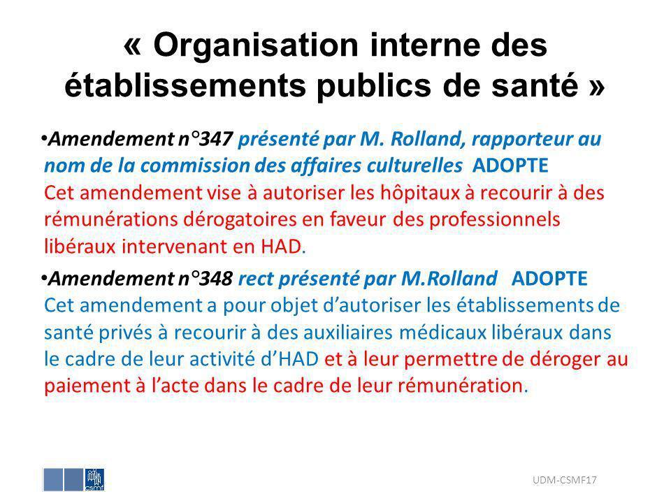 « Organisation interne des établissements publics de santé »
