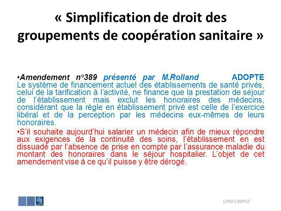 « Simplification de droit des groupements de coopération sanitaire »