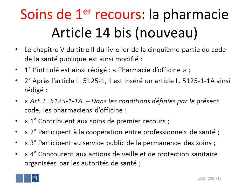 Soins de 1er recours: la pharmacie Article 14 bis (nouveau)