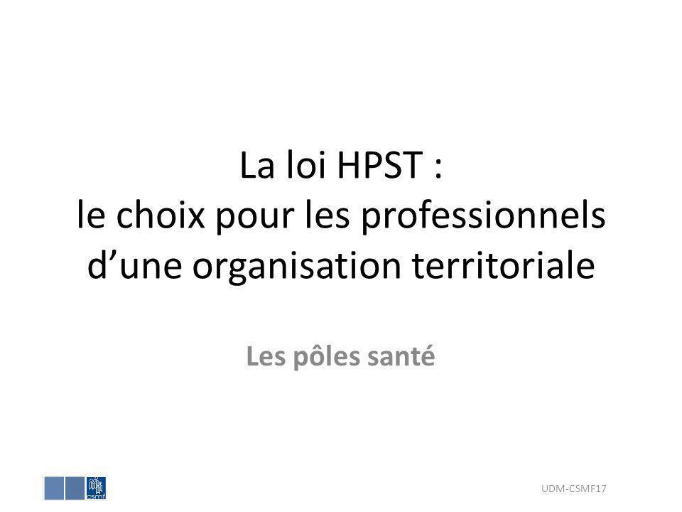 La loi HPST : le choix pour les professionnels d'une organisation territoriale