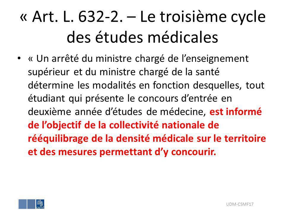 « Art. L. 632-2. – Le troisième cycle des études médicales