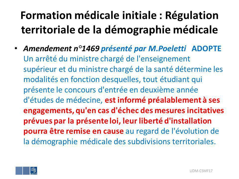 Formation médicale initiale : Régulation territoriale de la démographie médicale