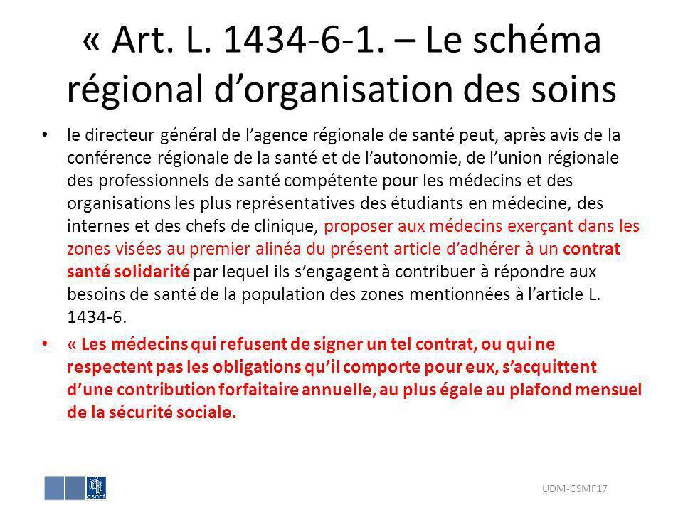« Art. L. 1434-6-1. – Le schéma régional d'organisation des soins