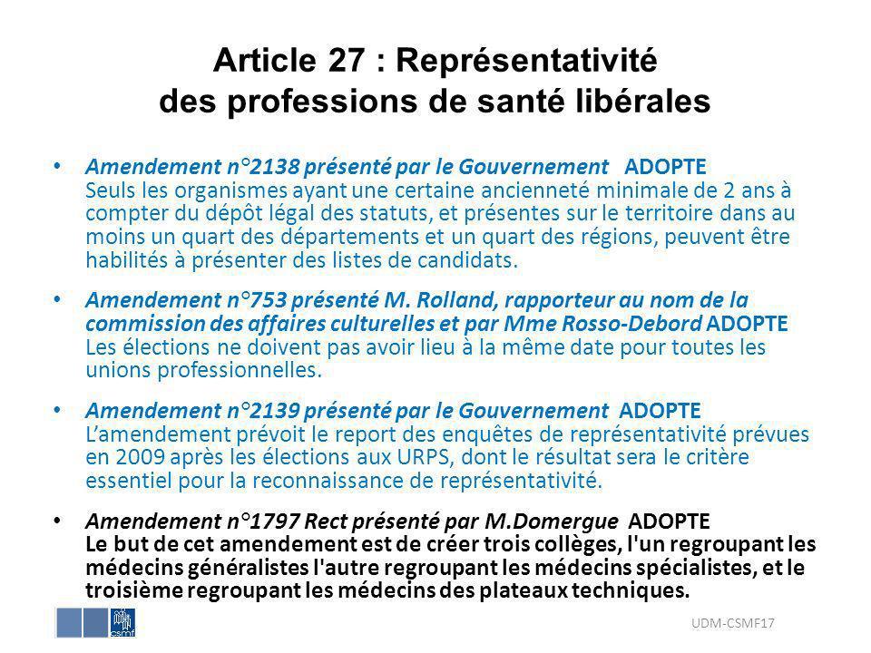 Article 27 : Représentativité des professions de santé libérales