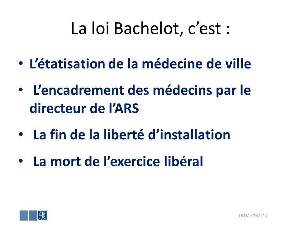 La loi Bachelot, c'est : L'étatisation de la médecine de ville