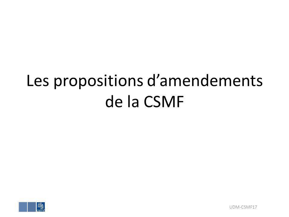 Les propositions d'amendements de la CSMF