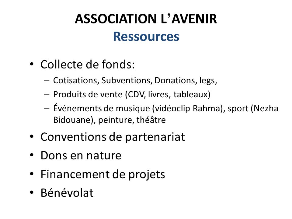 ASSOCIATION L'AVENIR Ressources