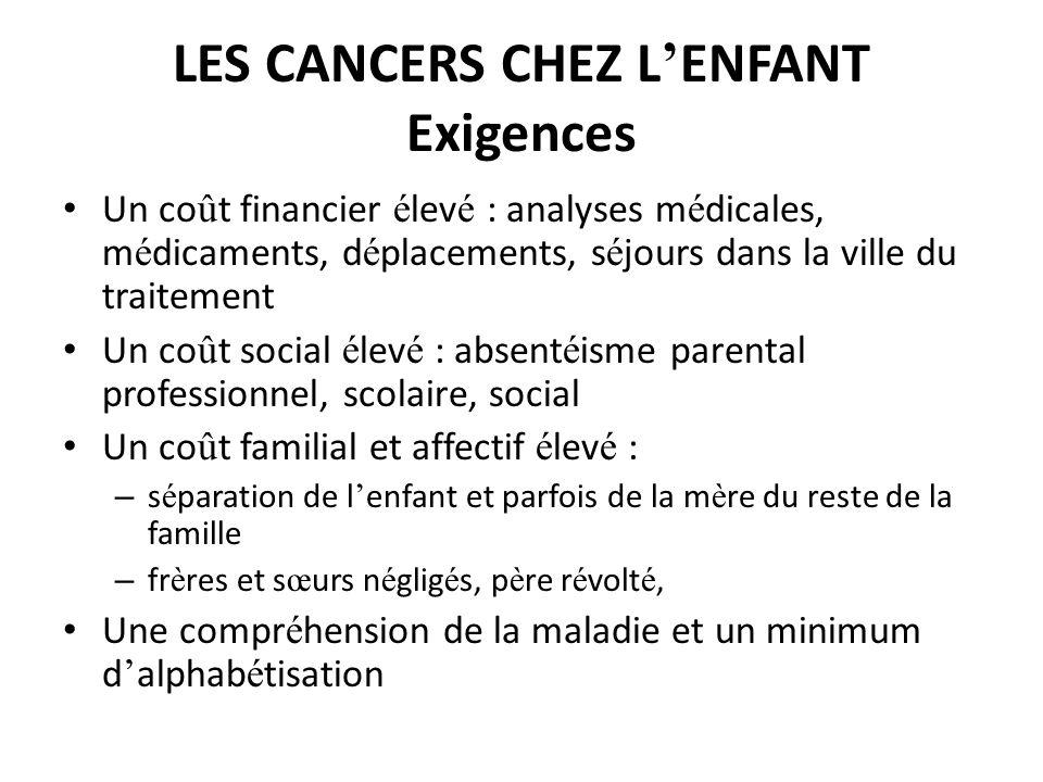 LES CANCERS CHEZ L'ENFANT Exigences