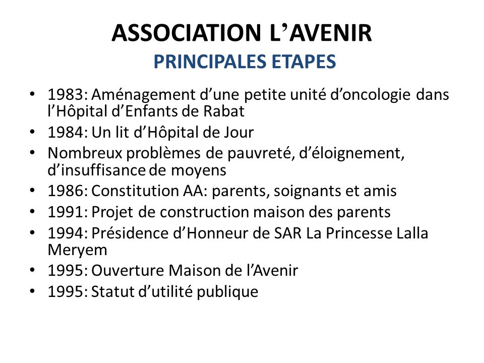 ASSOCIATION L'AVENIR PRINCIPALES ETAPES