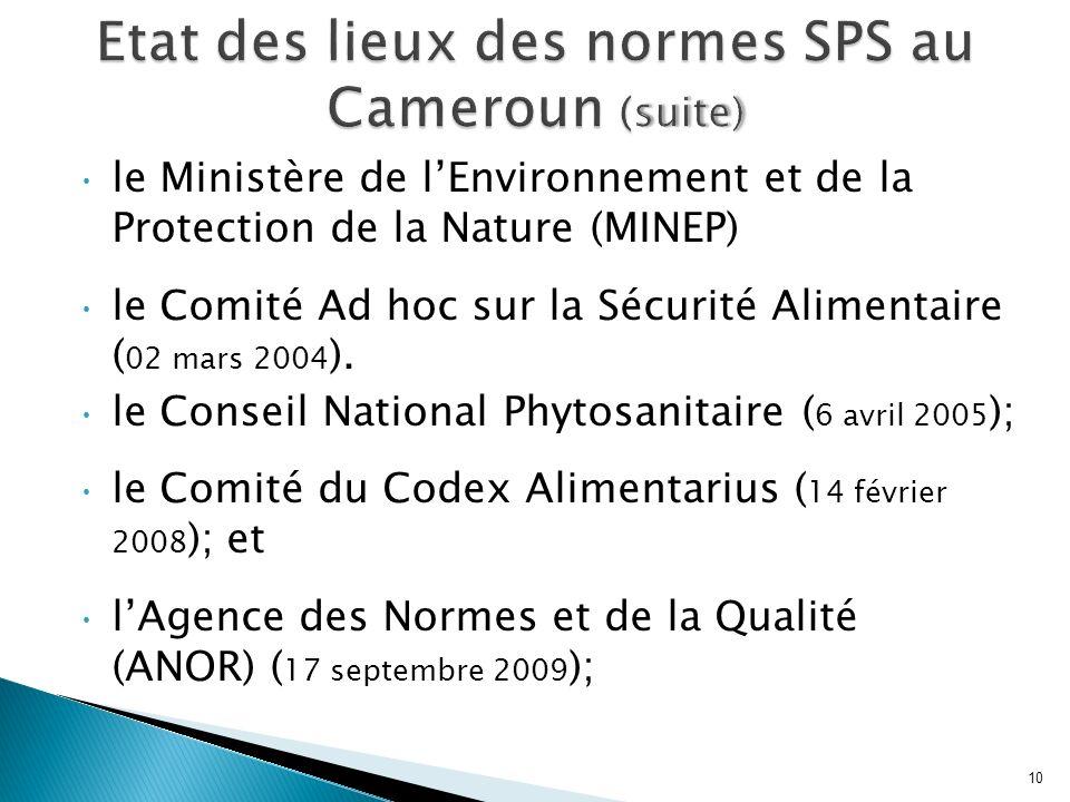 Etat des lieux des normes SPS au Cameroun (suite)