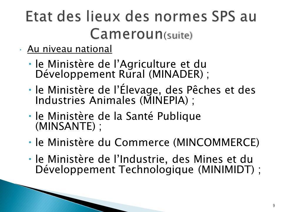Etat des lieux des normes SPS au Cameroun(suite)