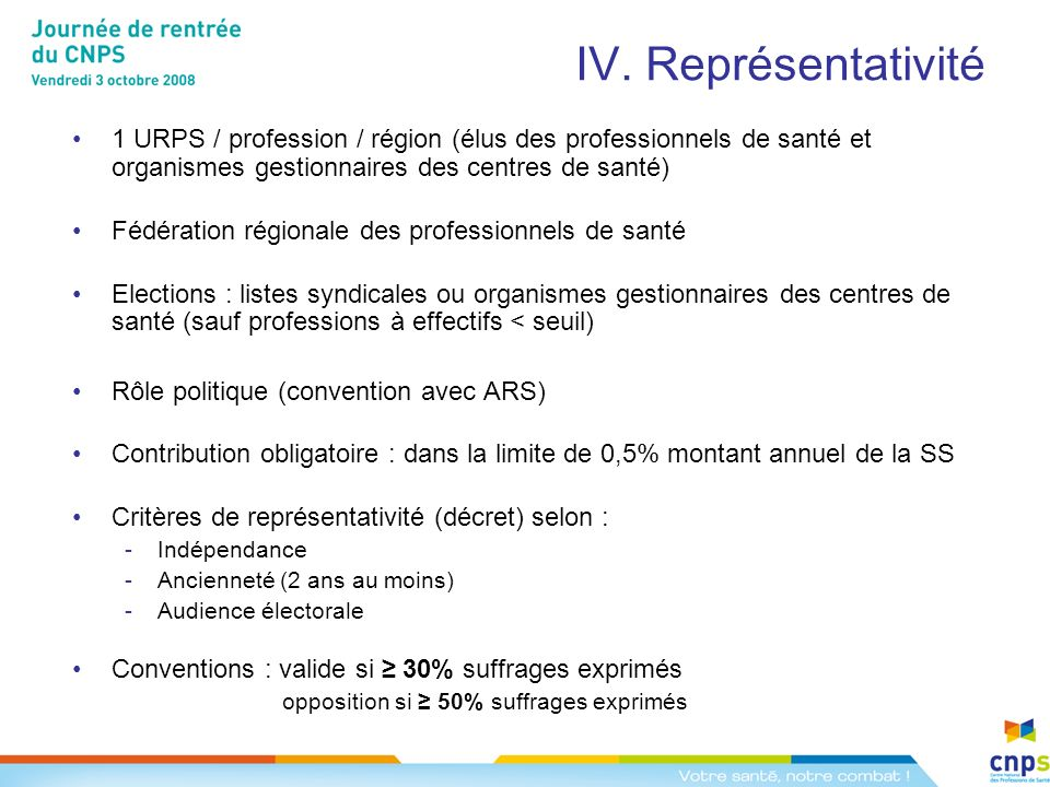 IV. Représentativité 1 URPS / profession / région (élus des professionnels de santé et organismes gestionnaires des centres de santé)