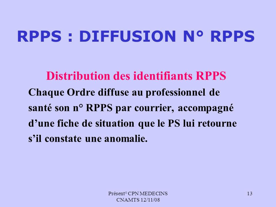 RPPS : DIFFUSION N° RPPS