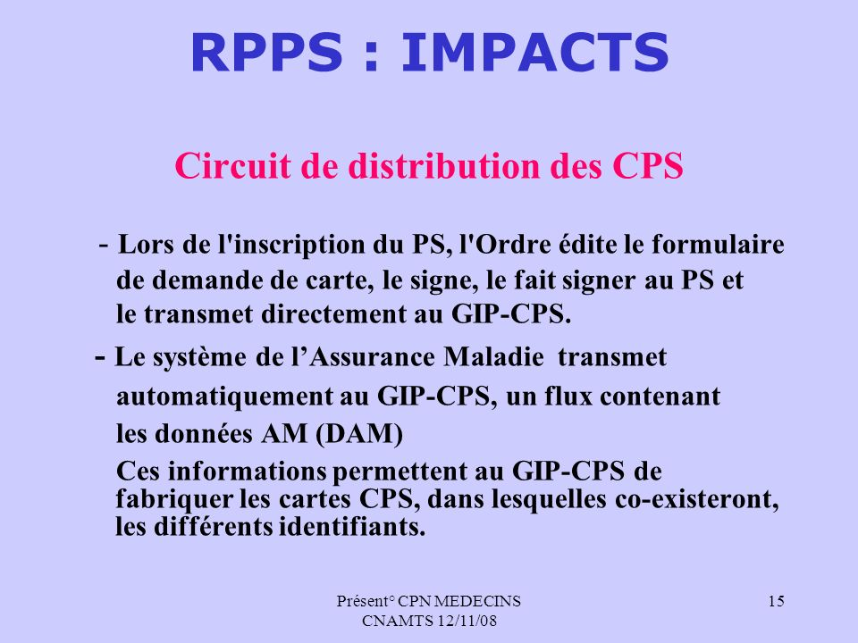 Circuit de distribution des CPS