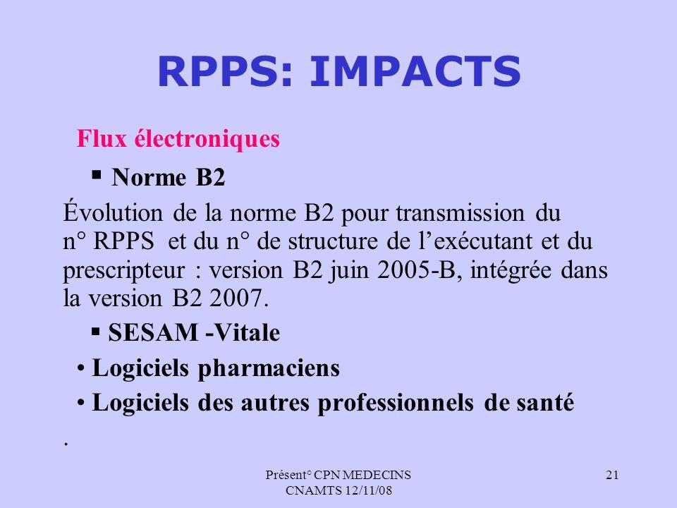 Présent° CPN MEDECINS CNAMTS 12/11/08