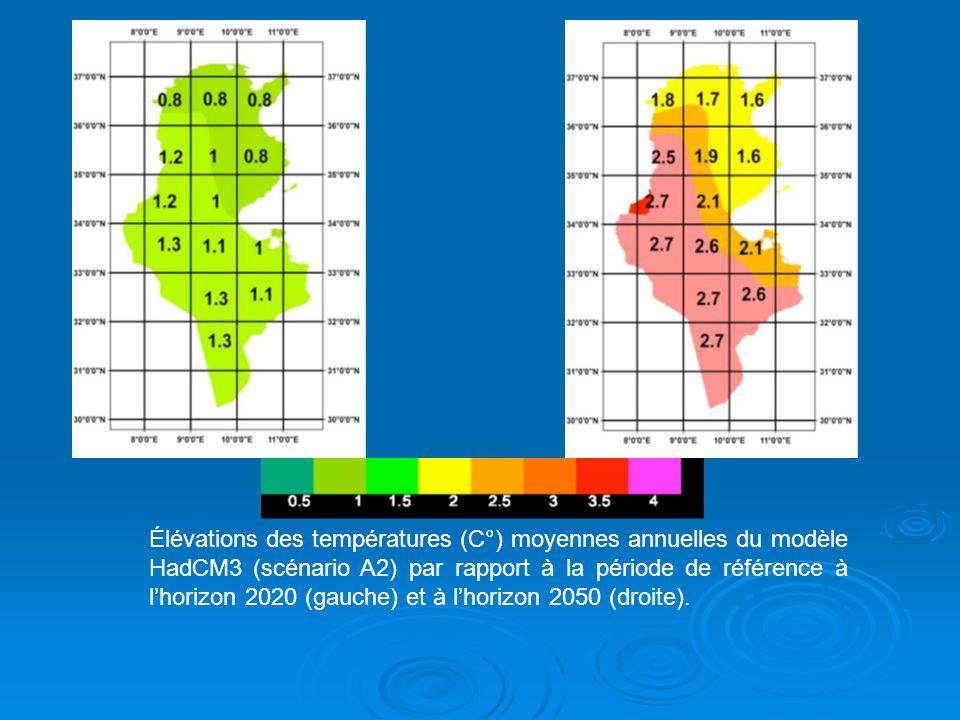 Élévations des températures (C°) moyennes annuelles du modèle HadCM3 (scénario A2) par rapport à la période de référence à l'horizon 2020 (gauche) et à l'horizon 2050 (droite).