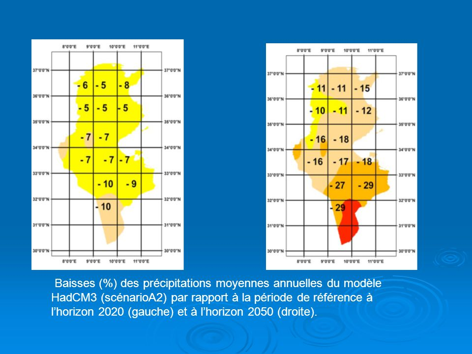 Baisses (%) des précipitations moyennes annuelles du modèle HadCM3 (scénarioA2) par rapport à la période de référence à l'horizon 2020 (gauche) et à l'horizon 2050 (droite).