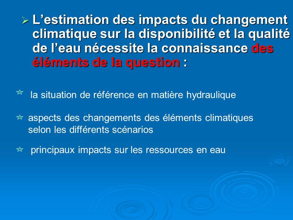 L'estimation des impacts du changement climatique sur la disponibilité et la qualité de l'eau nécessite la connaissance des éléments de la question :