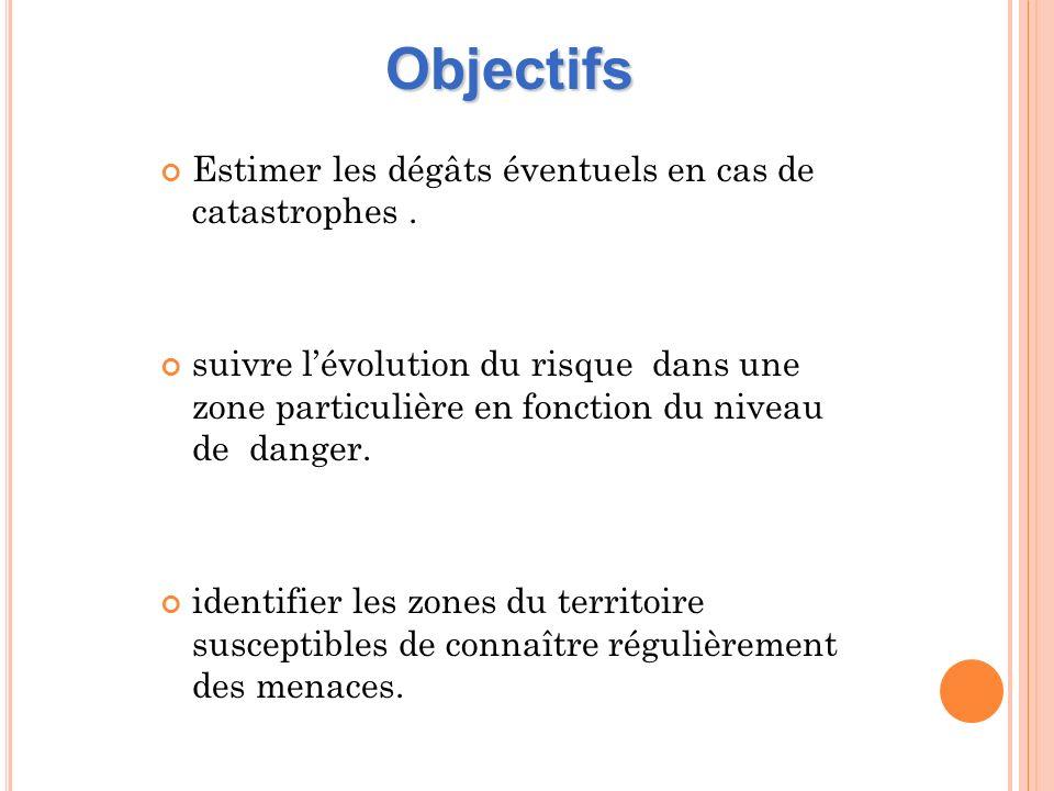 Objectifs Estimer les dégâts éventuels en cas de catastrophes .