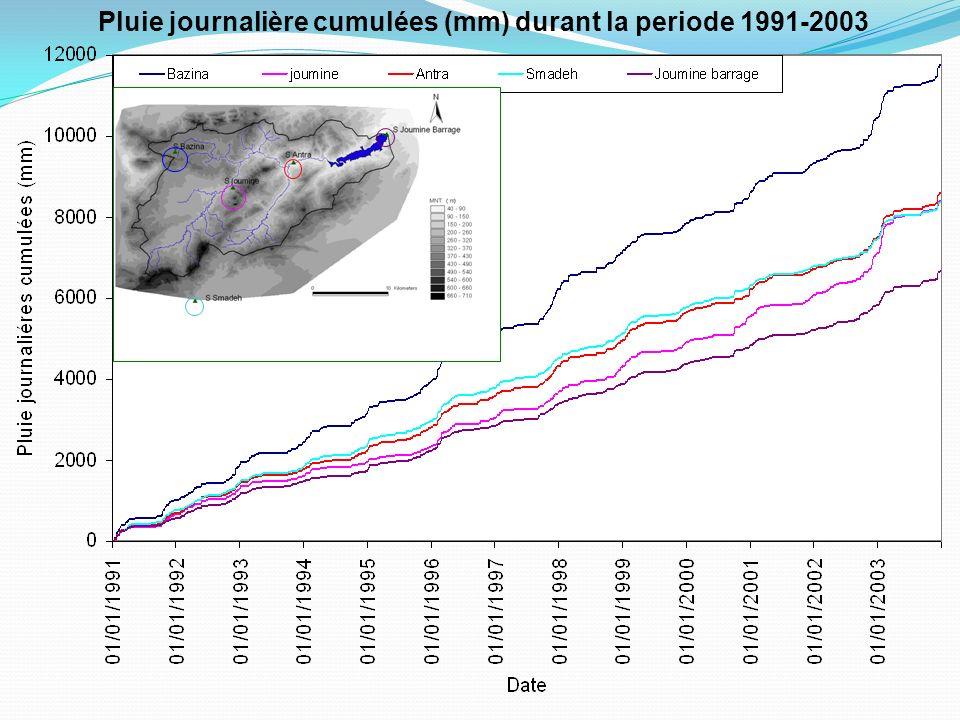 Pluie journalière cumulées (mm) durant la periode 1991-2003
