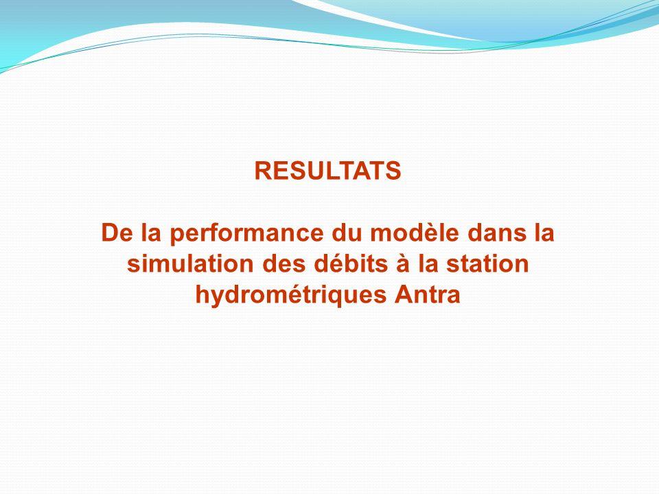 RESULTATS De la performance du modèle dans la simulation des débits à la station hydrométriques Antra.