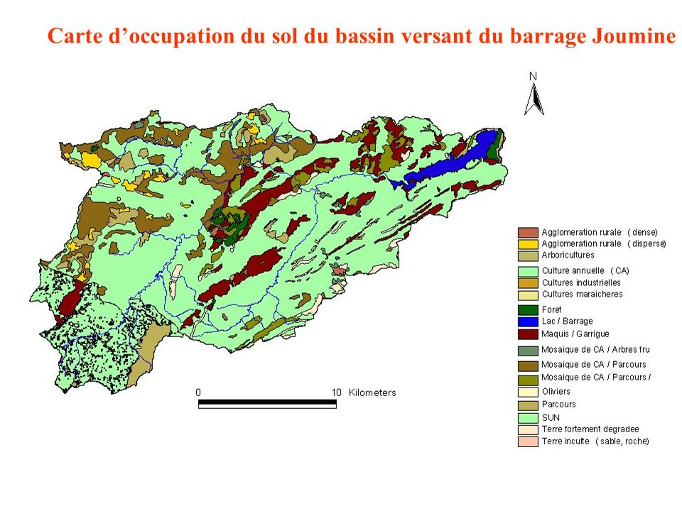 Carte d'occupation du sol du bassin versant du barrage Joumine