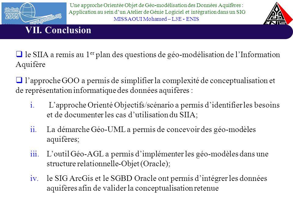 Conclusion le SIIA a remis au 1er plan des questions de géo-modélisation de l'Information Aquifère.