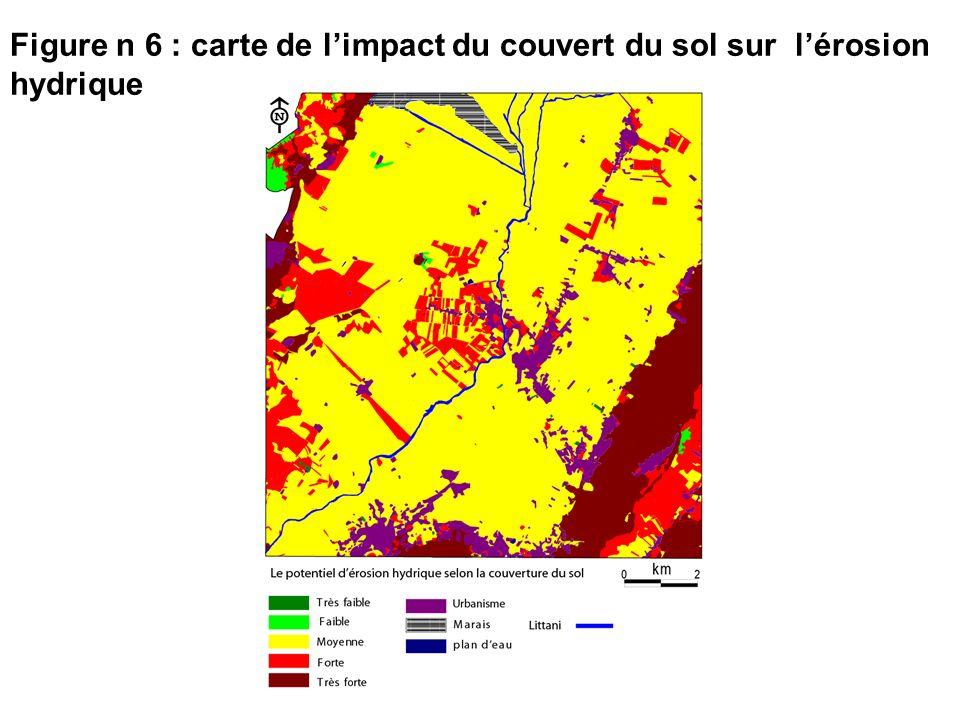 Figure n 6 : carte de l'impact du couvert du sol sur l'érosion hydrique