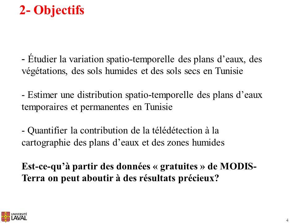 2- Objectifs Étudier la variation spatio-temporelle des plans d'eaux, des végétations, des sols humides et des sols secs en Tunisie.