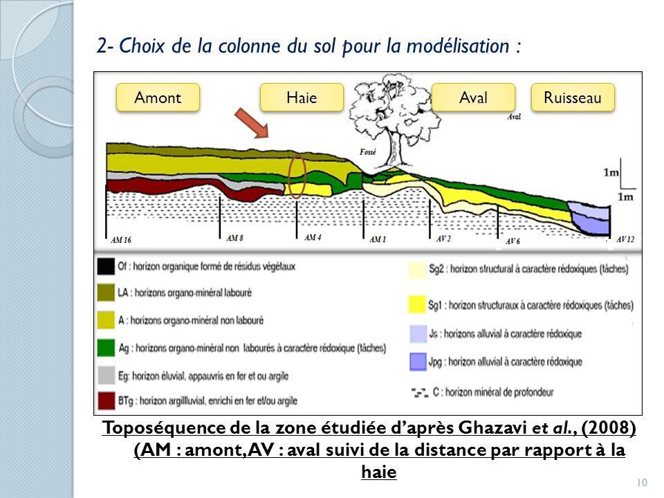 2- Choix de la colonne du sol pour la modélisation :