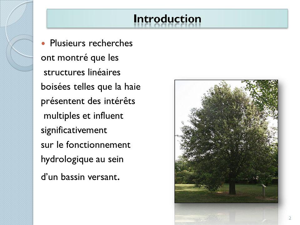 Plusieurs recherchesont montré que les. structures linéaires. boisées telles que la haie. présentent des intérêts.