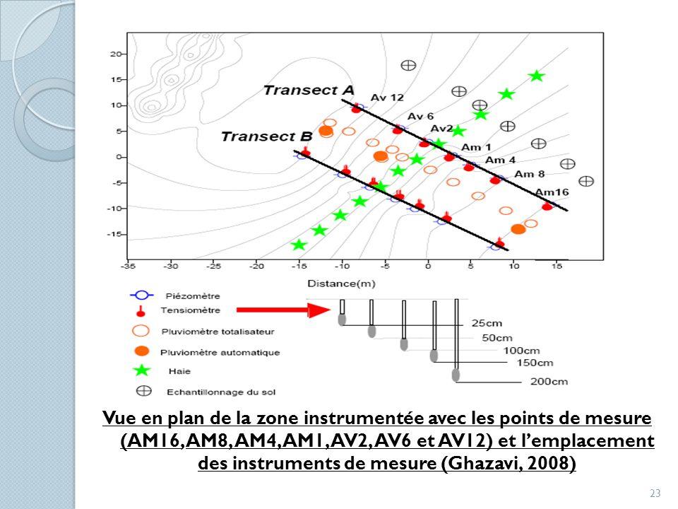 Vue en plan de la zone instrumentée avec les points de mesure (AM16, AM8, AM4, AM1, AV2, AV6 et AV12) et l'emplacement des instruments de mesure (Ghazavi, 2008)