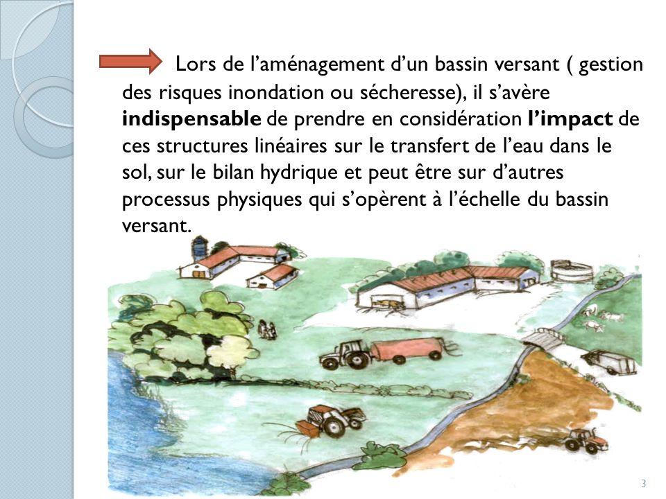 Lors de l'aménagement d'un bassin versant ( gestion des risques inondation ou sécheresse), il s'avère indispensable de prendre en considération l'impact de ces structures linéaires sur le transfert de l'eau dans le sol, sur le bilan hydrique et peut être sur d'autres processus physiques qui s'opèrent à l'échelle du bassin versant.