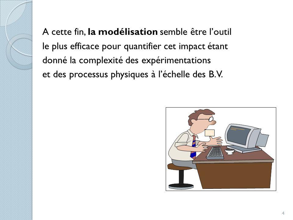 A cette fin, la modélisation semble être l'outil le plus efficace pour quantifier cet impact étant donné la complexité des expérimentations et des processus physiques à l'échelle des B.V.