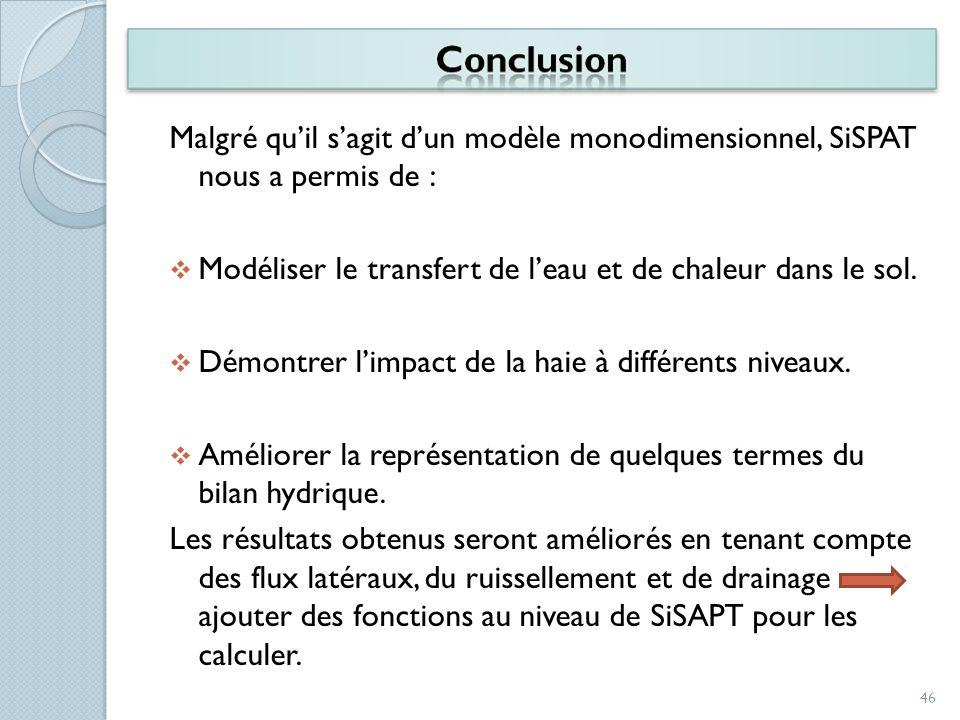 Malgré qu'il s'agit d'un modèle monodimensionnel, SiSPAT nous a permis de :