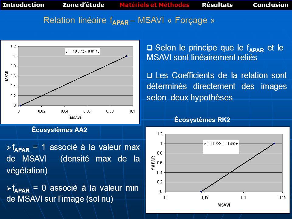 Relation linéaire fAPAR – MSAVI « Forçage »
