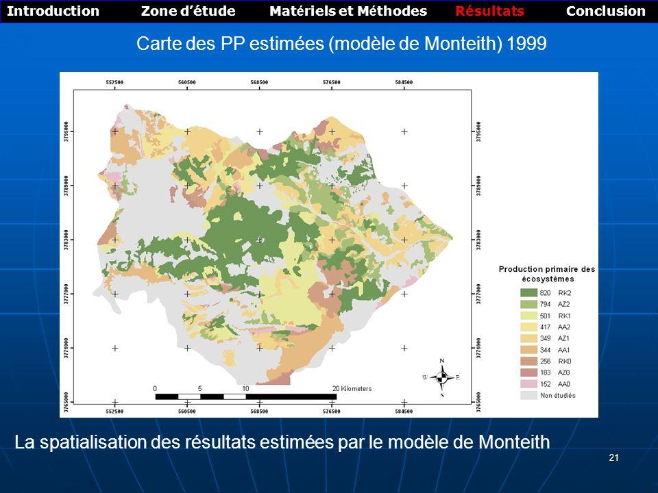 Carte des PP mesurées 1999 ( Allométrique)