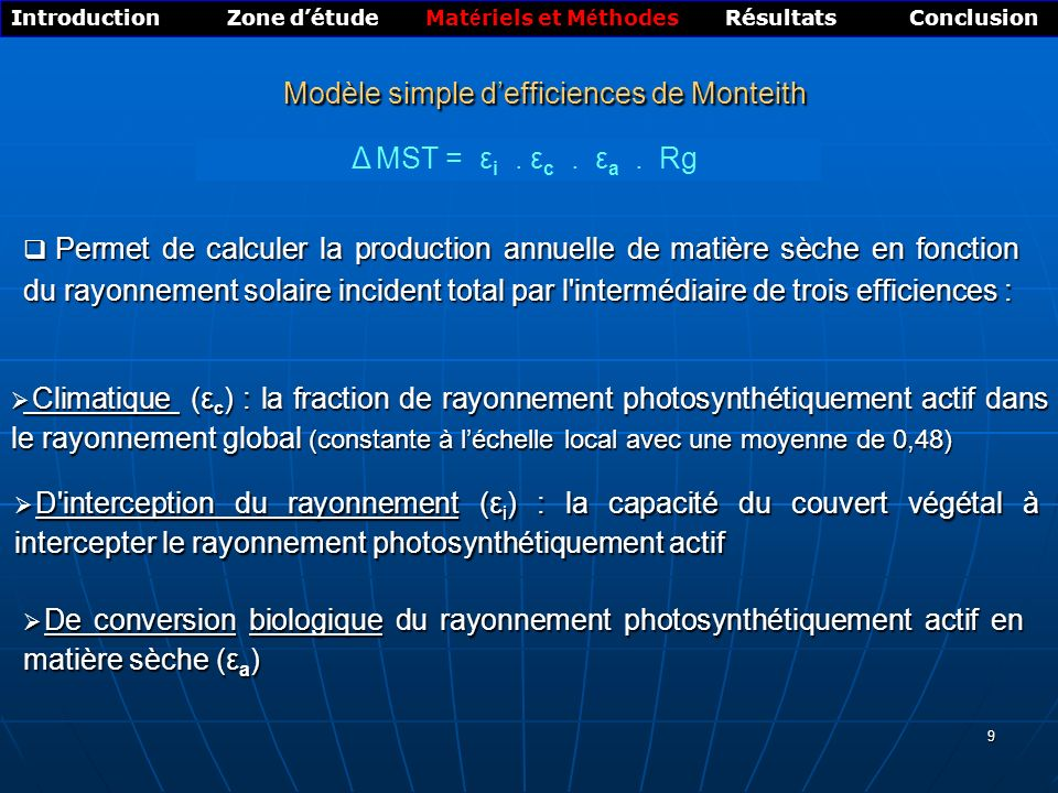 Modèle simple d'efficiences de Monteith