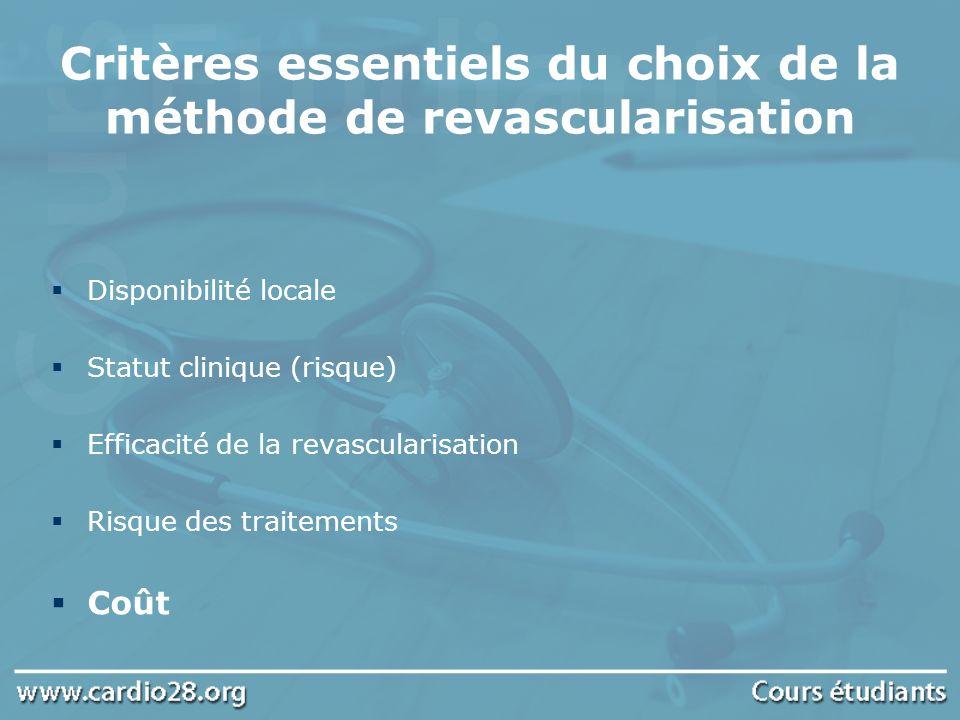 Critères essentiels du choix de la méthode de revascularisation