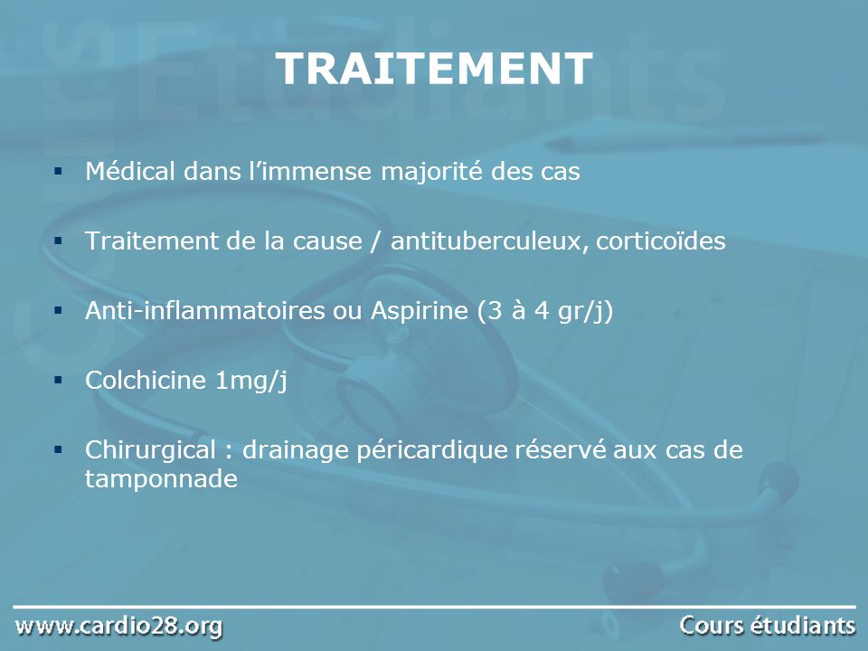 TRAITEMENT Médical dans l'immense majorité des cas