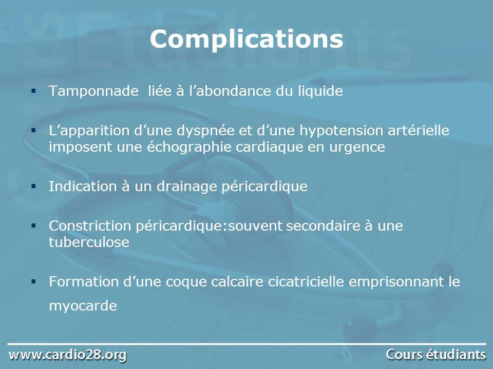 Complications Tamponnade liée à l'abondance du liquide