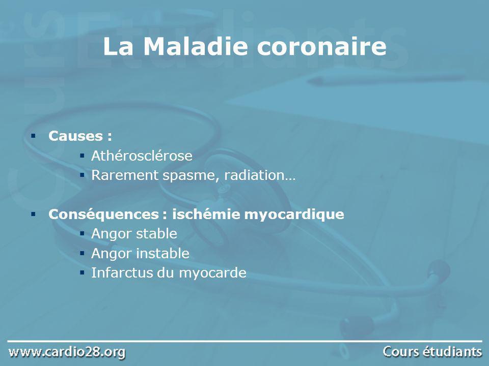 La Maladie coronaire Causes : Athérosclérose