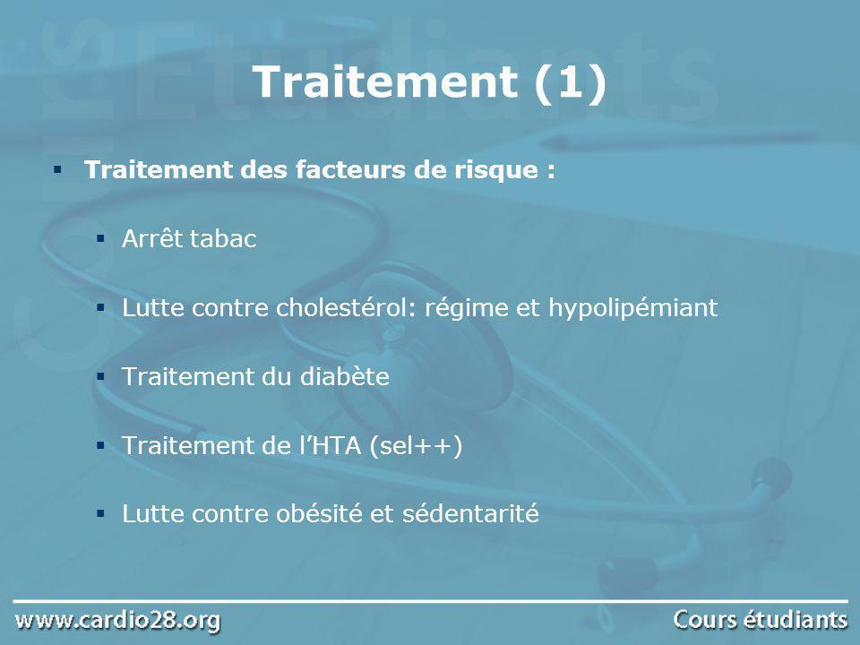 Traitement (1) Traitement des facteurs de risque : Arrêt tabac